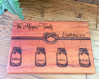 Cutting Board, Wood Cutting Board, Mahogany Board,Personalized, Wedding Gift, Custom Cutting Board, Anniversary Gift, Personalized Gift