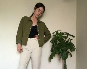 Mossy Green Linen Blazer