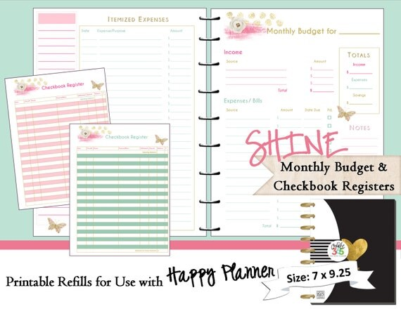 Happy Planner Monthly Budget and Checkbook by ...