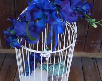 SALE,Blue Orchid Wedding Bird Cage Card Holder. LAST ONE, White Wire, Upcycled Home Decor Item