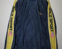 Vintage Polo Sport Ralph Lauren Jacket Spell Out Ski USA Flag Stadium