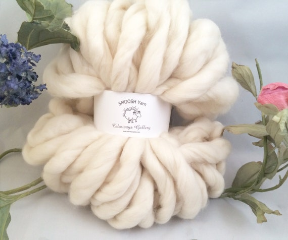 "Jumbo Yarn - Super Chunky Yarn, Giant Yarn, Super- THICK Yarn, ""Smoosh Yarn"", Hand Spun yarn"