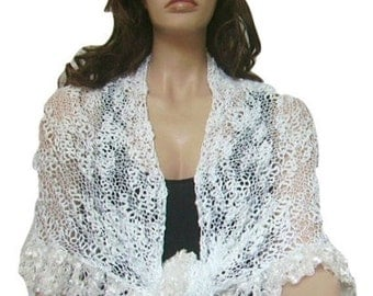 ON SALE Snow White Shawl, Ruffle Bridal Shawl, Scarf, Hand knit, Bridal Wrap, Lace, Ready to Ship, Express Delivery