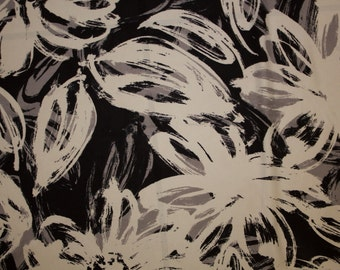 "Black White Grays Floral Satin Charmeuse Print #26 Polyester Shiny Silk Feel Apparel Craft Bridal Dress Fabric 58""-60"" Wide By The Yard"