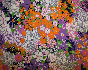 """Flowers Faces Print #27 100% Cotton Quilting Fabric Robert Kaufman Designer Print 45"""" Wide By The Half Yard"""