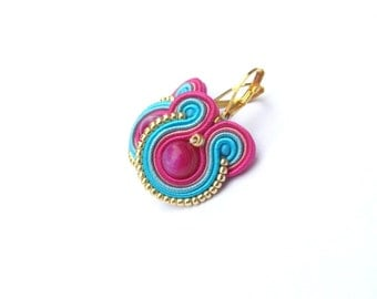 Round Agate Earrings, Small Soutache Earrings, Handmade Gift for Her, Hand Embroidered Soutache Jewelry