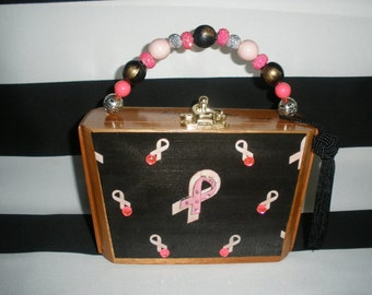 Pink Ribbon Cigar Box Purse, Breast Cancer Awareness, Think Pink