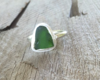 Dark Green Sea Glass Ring