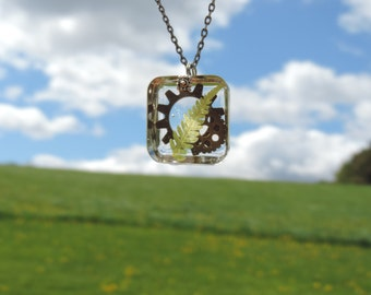 Ferns and Gears Resin Necklace