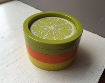 Set of 6 Vintage Bright Colored Fruit Stackable Coasters