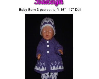 Baby Born Knitting Pattern BAILEIGH fits 16 to 17 inch dolls (pattern only)