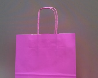 Pale Pink paper twisted handeled party bags x 10 with 20 sheets tissue paper