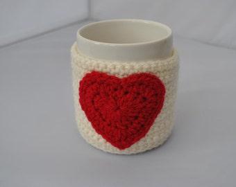 Cream crocheted mug cosy/cozy