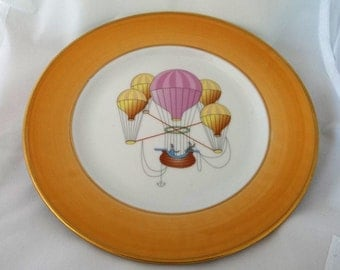 """Hand Decorated Hot Air BALLOON Plate 7 3/4"""" Godinger Email De Limoges MARINO"""