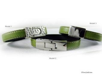 Armband grün Leder Herren Damen Leder silber Edelstahl - Lederarmband - Geschenk für sie für ihn Eheman Freund Ehefrau Freundin Greenery