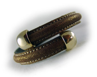 Women's leather bangle bracelet brown gold -  women's bracelet leather  - gift for her wife girlfriend sister