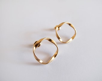Gold Twist Stud Earrings