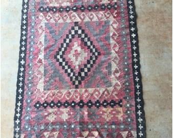 "Mid Century Vintage Afghan Kelim 70""x39"""