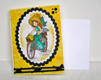 Girl Riding Bike with Puppy  All Occasion Card  Handmade