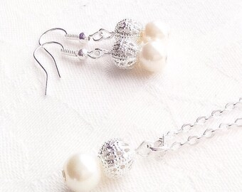 Ivory Pearl Jewelry Set Ivory Pearl Necklace Ivory Necklace Wedding