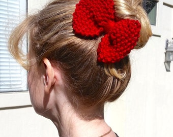 Hair bow.Knitted bow. Hand Knit Bow. Red bow.Large hair bow. Hand knit Hair bow