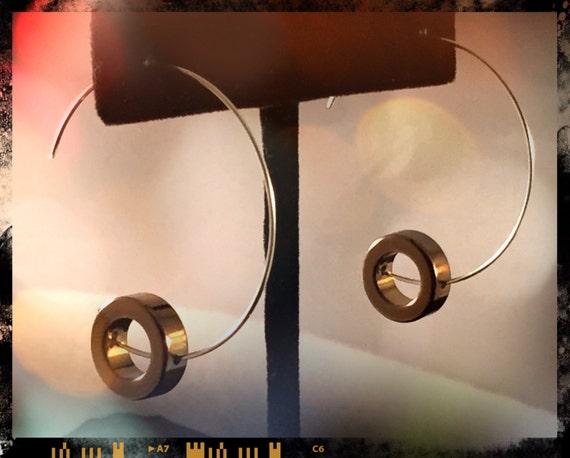 Silver hoop bangle wire  earrings