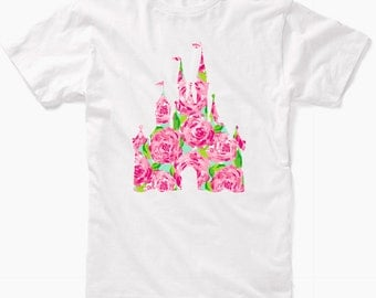 Disney Lilly Pulitzer Inspired Castle Shirt, Disney Fan Shirt, Disney World Shirt, Disney Shirt, Lilly Pulitzer Shirt