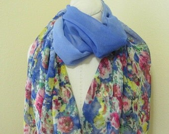 Painted Silk Scarf, hand dyed with shades of blue, with flowers,  Mother of the Bride, love gift