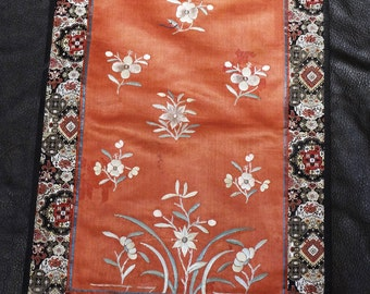 Embroidered Silk Panel Chinese Floral 1900s Handmade