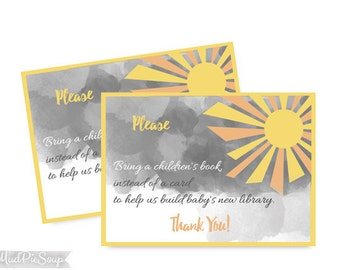 Sunshine Baby Shower Bring a Book Cards / Printable Download