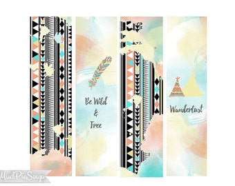 Printable Bookmarks - Tribal Boho - Watercolor Feathers Teepee Phrases