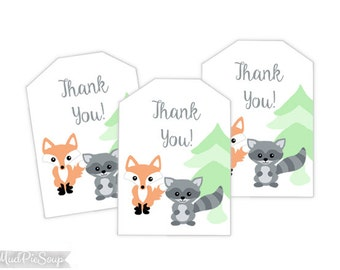 Printable Woodland Fox Thank You Tags - Animals Raccoon Favors / Instant Download