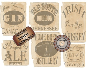 Booze Bottle Labels 6 Bootleg Printable Prohibition Speakeasy Gatsby Party Roaring 20s Wedding Decor Rye Whiskey Bourbon Gin Ale Home Brew