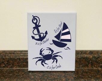 nautical nursery nautical alphabet anchor wall decor sailboat wall decor nautical baby shower gift baby boy nautical baby girl nautical