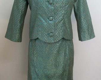 Vintage 1960s Maryan's of Toronto Jacket and Dress, Gorgeous Green and Gold Lame Fabric.