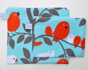 Eco Friendly Reusable Snack Bag Set - Small Zipper Snack Bag - Large Zipper Snack Sandwich Bag - Tweetie Pie Aqua