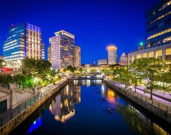 The Providence River and modern buildings at night, in downtown Providence, Rhode Island. | Photo Print, Stretched Canvas, or Metal Print.