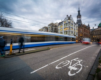Traffic on Raadhuisstraat, in Amsterdam, The Netherlands - Photography Fine Art Print or Wrapped Canvas