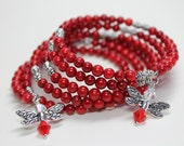 Red Coral Bracelet Wire Wrapped in Silver, Bamboo Coral Memory Wire Bracelet, Red Bangle Bracelet, Red Beaded Bracelet