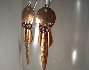 Hammered Copper Earrings with Sterling Silver Ear Wires