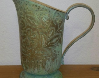 Vintage India made carved brass pitcher