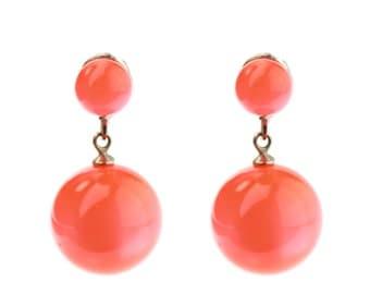 Peach-Orange Moonglow Earrings / Vintage Jewelry / B16