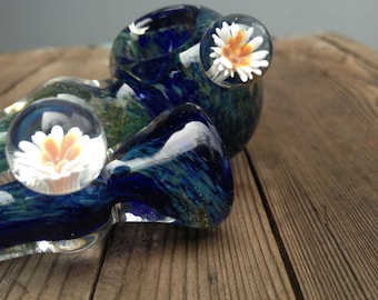 Monet's Waterlilies Set / / A Tribute in Glittered Green with Blue and White Lilly Marbles Glass Art Set
