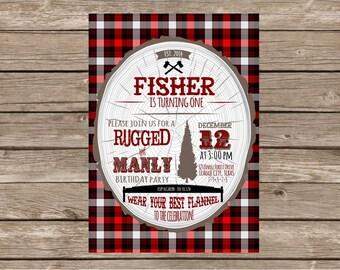 Rustic, Plaid, Manly First Birthday Invitation