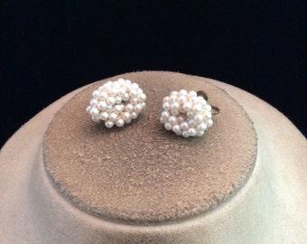 Vintage Faux Pearl Screw Back Earrings