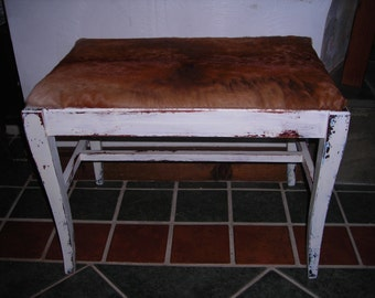 Shabby Chic, distressed, cowhide bench, stool