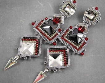 Aztec style luxurious swarovski soutache earrings, silver and red vintage style