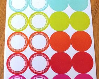 72 Round Stickers--Crafting Stickers--Office Supply Sticker--Sticker Labels