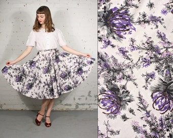 Vintage 1950s Purple Floral Circle Skirt with Tulle