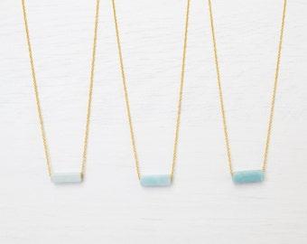 Amazonite Bar Necklace // Choker / Dainty Layering // Aqua Blue Necklace / Light Blue Necklace / Tiny gold necklace / Delicate gold necklace